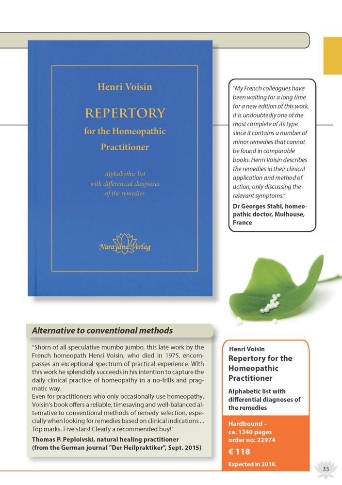 Homeopathy Natural Cure Catalogue 2018, Narayana Verlag
