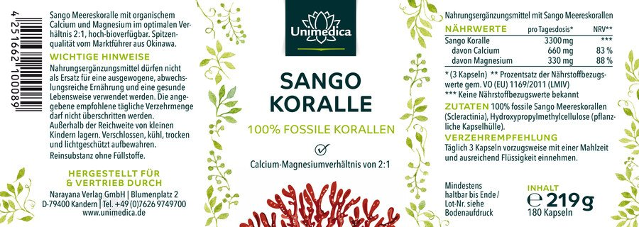 Sango coral - 100 % fossil coral - 180 capsules - from Unimedica